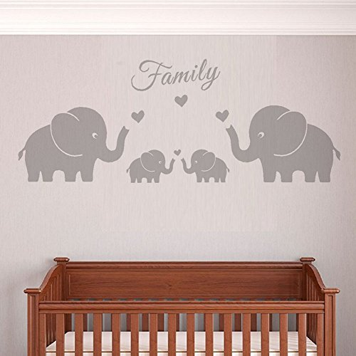 Elephant Twin Nursery Wall Art Nursery Room Decor For Twins: Four Elephants Family Wall Decal Love Hearts Family Words