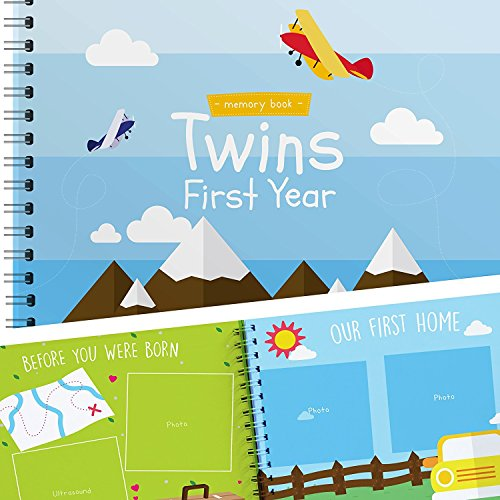 Twins First Year Hardcover Memory Book Airplanes Edition Newborn Babies 1st Journal And Milestones Photo Album Perfect Unique Gift Idea For